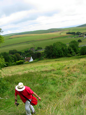 Climbing the hill out of East Dean village