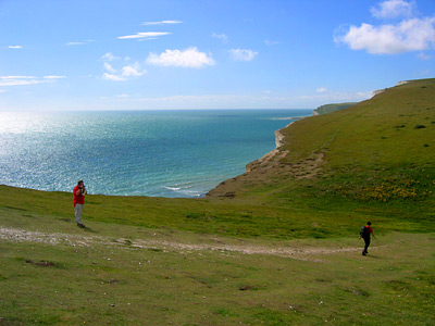 Coast path at Rough Bottom on the Seven Sisters cliffs, East Sussex