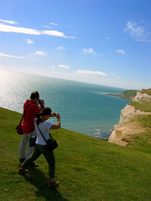 Taking pictures at Short Brow on the Seven Sisters coast path, East Sussex