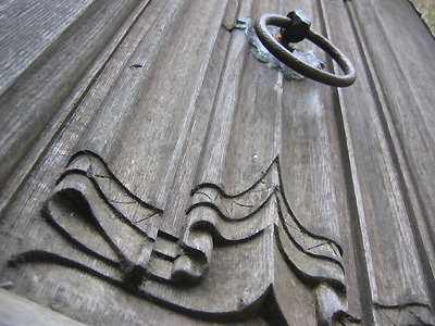 Linenfold motif on a door at the church of St Andrew and St Mary, Watton-at-Stone, Hertfordshire, England, Britain, UK