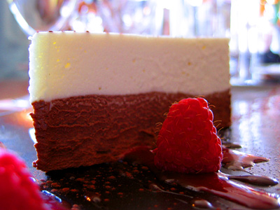 Vanilla and chocolate truffle cake at the Curlew pub in Bodiam, East Sussex