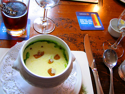 Potato and garlic soup at The Curlew, Bodiam