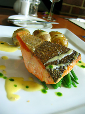 Salmon main course at The Curlew, Bodiam