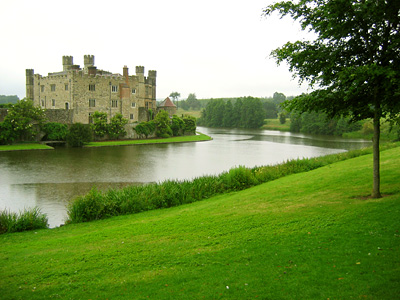 Leeds Castle and moat on a rainy day