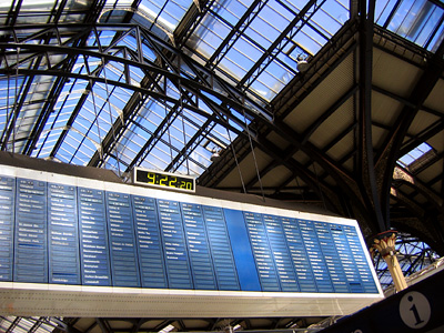 Departures board at Liverpool Street Station in London