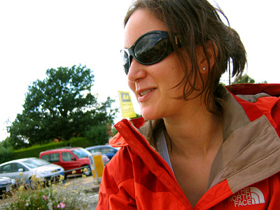 Liske in shades and rain jacket by The North Face