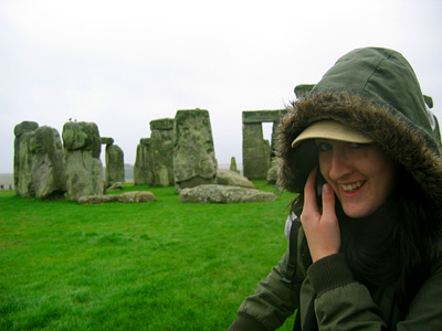 Nadine at Stonehenge, October 2007