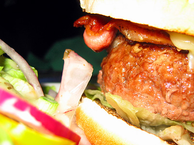 Bacon cheeseburger close up, Black Horse pub, Great Durnford