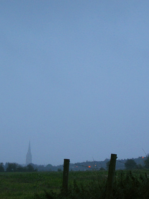 Spire of Salisbury Cathedral seen across fields at dusk, October 2007