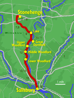 Map showing route of walk from Stonehenge to Salisbury, down the valley of the River Avon