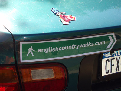 English Country Walks bumper sticker, close up