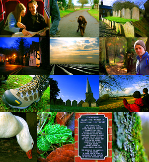 Photo montage of a walk from Godalming to Winkworth Arboretum, in Surrey, England, January 2008