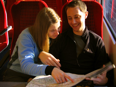 Sarah and Ed checking the route on the train out to Godalming