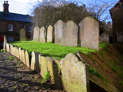 Gravestones at the church of St Peter and St Paul, Godalming