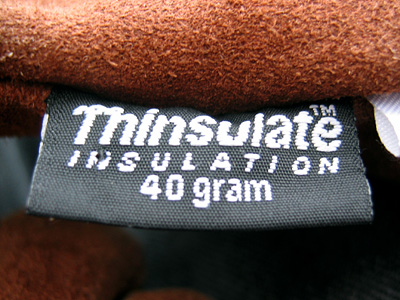 Thinsulate logo on gloves