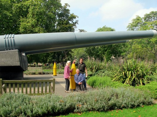 Stephanie, Jeremy and David under the battleship guns at IWM London. Photo by Benjamin Wenk.