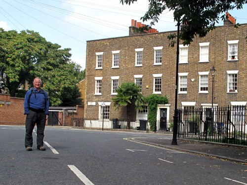 Jeremy in the back streets of Lambeth. This was St Mary's Gardens. We're around the corner from The Ship here.