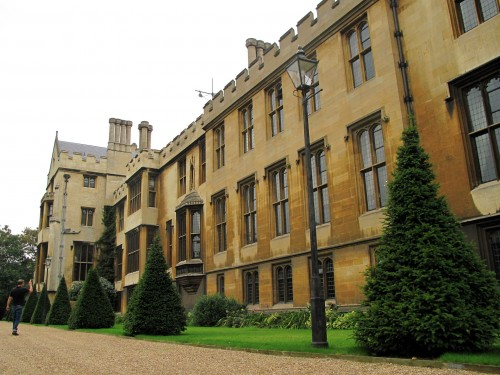 These are the gardens inside Lambeth Palace. Note the gold tinted Bath stone used in construction -- unusual for London.
