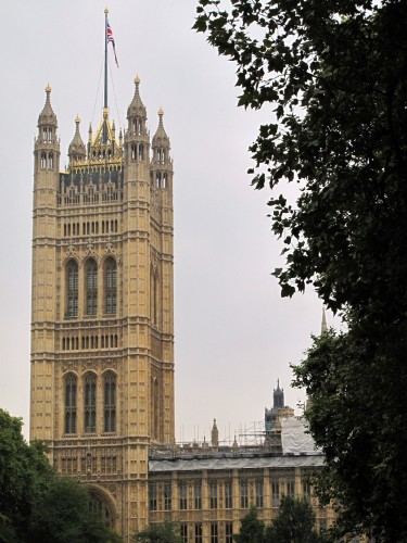 Across the Thames. The view of the Palace of Westminster from Victoria Tower Gardens.
