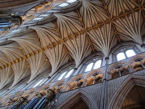 The high, vaulted roof of Westminster Abbey.