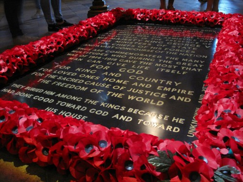 Close-up of The Tomb of the Unknown Warrior in Westminster Abbey. There's a mirror-image tomb under the Arc de Triomphe in Paris. That's where I'll be finishing up the walk on October 31st.